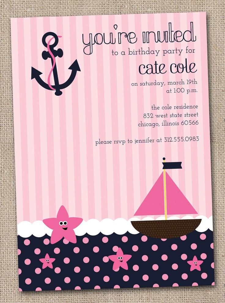 Nautical Girls Birthday Party Invitations Printable Digital File Pink And  Navy Blue. $16.00, Via. Birthday Party InvitationsBaby Shower ...