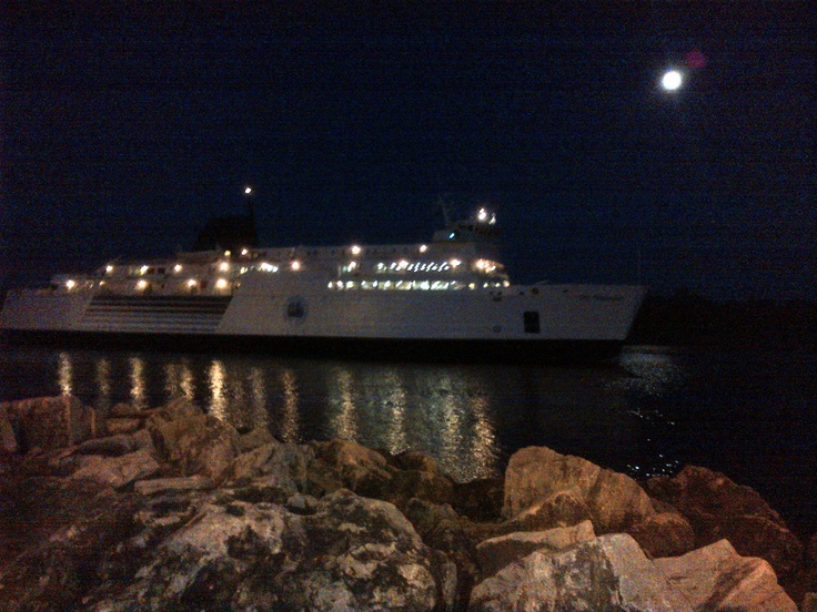 Chi Cheemain Ferry last sail to Tobermory -before the fireworks   Canada Day 2012  Manitoulin Island