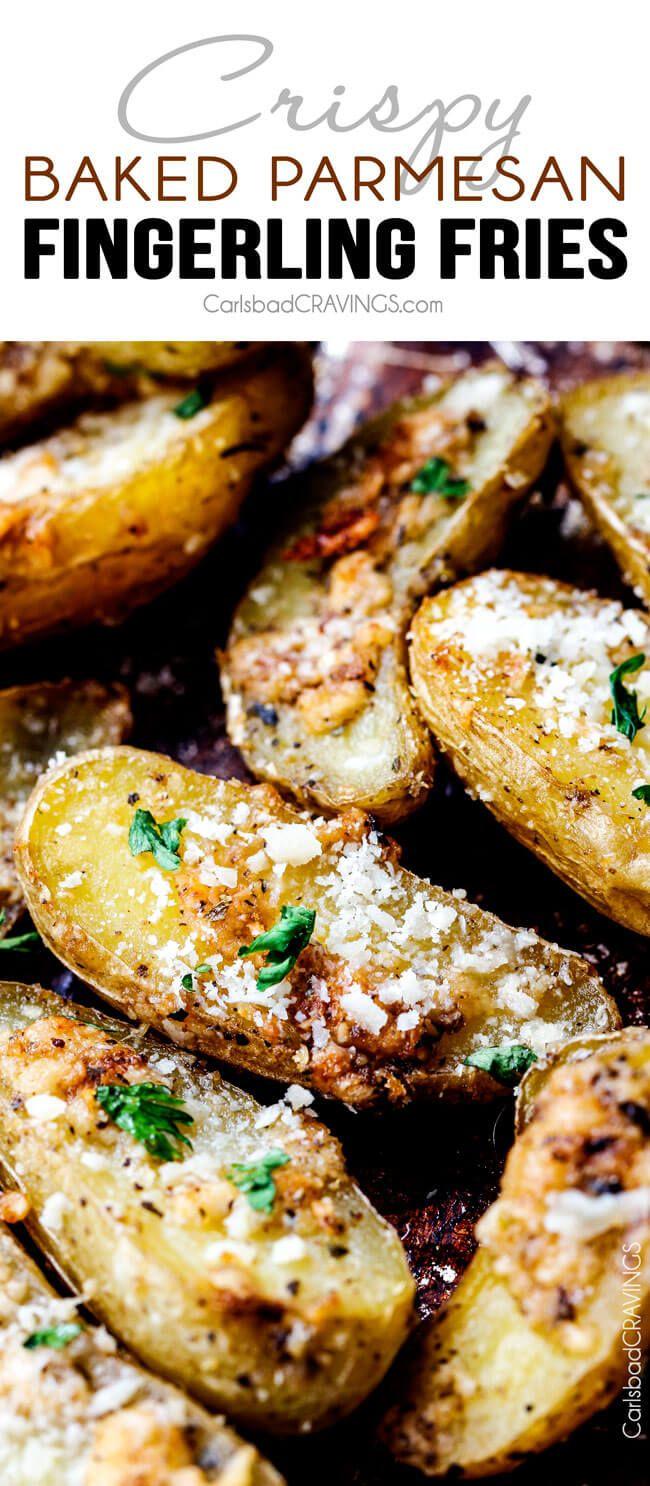 Gemakkelijk gebakken Parmezaanse Fingerling frietjes met een knapperige buitenkant en romige boterachtige interieur maken de perfecte voorgerecht, snack of ziet u niet in staat zijn om te stoppen kauwend!