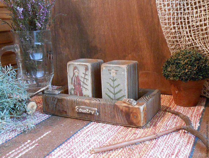 """Купить Подсвечники деревянные,на подставке """"Уютное Рождество"""" - коричневый, подсвечник ручной работы, подсвечник из дерева"""