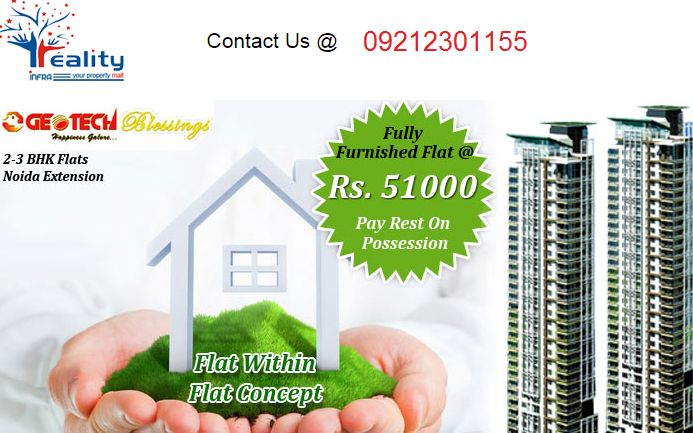 Fully Furnished Flat @ Rs. 51000 Pay Rest On Possession. Pay as you wish  (customzed payment plans)