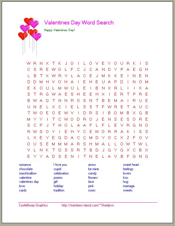Printable Valentine Word Search | Valentineu0027s Day Word Searches / Valentineu0027s  Day Worksheets