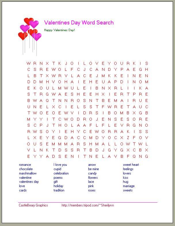 printable valentine word search valentine 39 s day word searches valentine 39 s day worksheets. Black Bedroom Furniture Sets. Home Design Ideas
