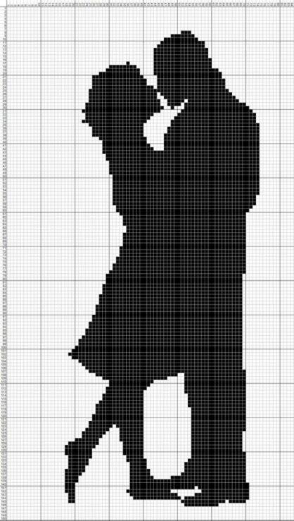 Couple silhouette x-stitch pattern Gallery.ru / Фото #76 - мои схемы монохром (бесплатно) - sherina21