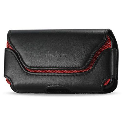 Premium Leather Belt Clip Pouch Case For Samsung Galaxy S5 S 5 (Fits with otterbox case / Lifeproof case on)