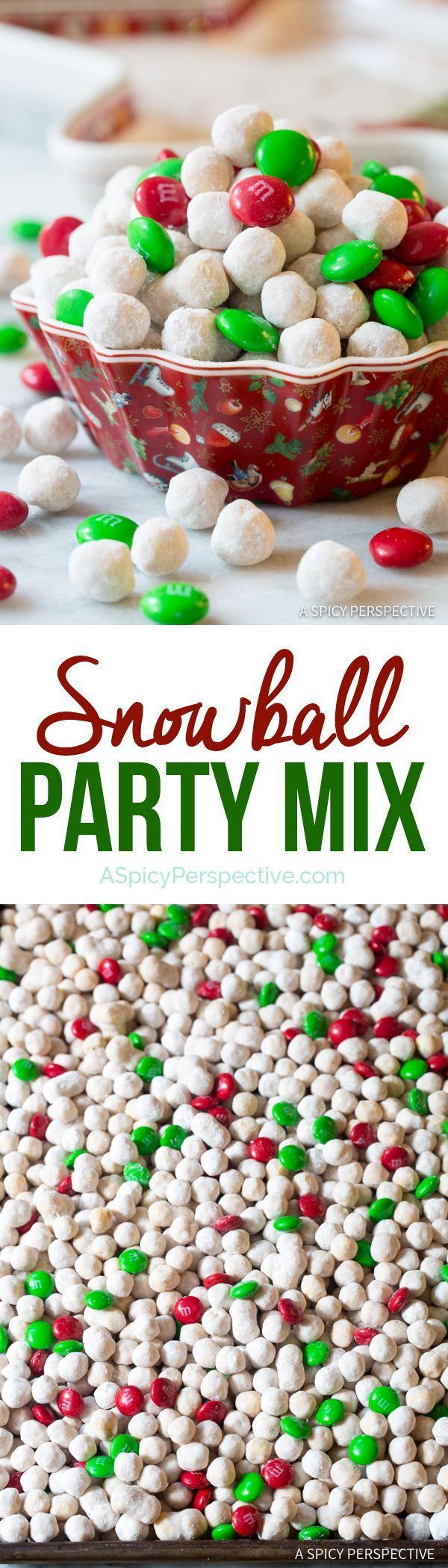 Festive Snowball Party Mix | http://ASpicyPerspective.com #christmas #ediblegifts