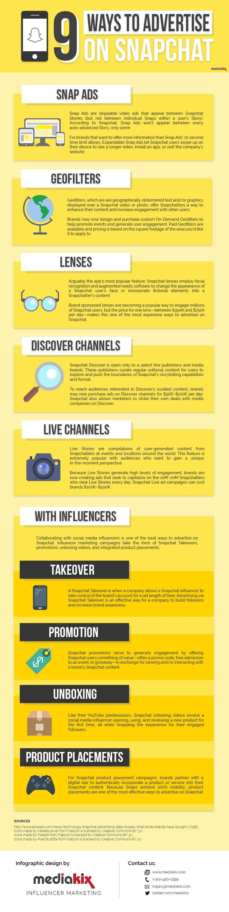 The 9 Ways to Advertise on Snapchat [INFOGRAPHIC http://simplymeasured.com/blog/the-9-ways-to-advertise-on-snapchat-infographic/