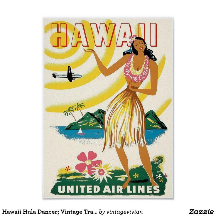 Hawaii Hula Dancer; Vintage Travel Poster