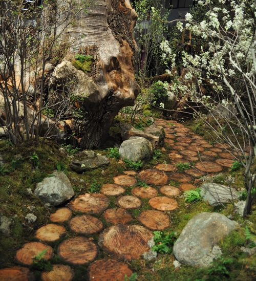 garden pathway of wood slices