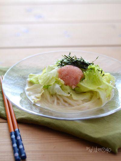 冷やしたらこ豆乳うどん。(冷凍うどんで)と三人デート♡ by 西山京子 ...