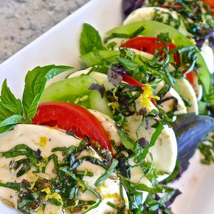 basil salad marinated mozzarella cherry tomato and basil salad serious ...