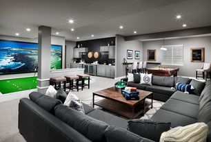 """Contemporary Game Room with Built-in bookshelf, Chalkboard 24x18"""", Framed Chalkboard, High ceiling, Columns, Carpet"""