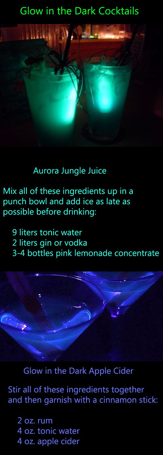 RECIPE: Glow-in-the-Dark Cocktails. There's always something so cool about…