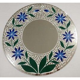 Dark Blue Daisy Mosaic Mirror