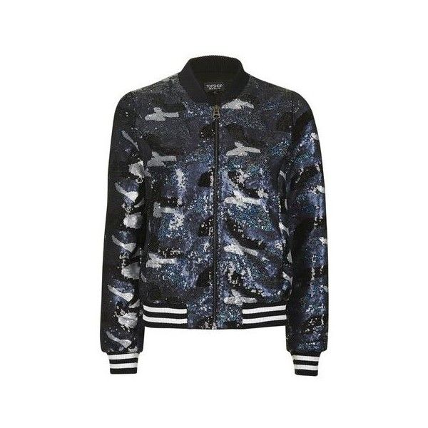 TopShop Camo Sequin Bomber Jacket (523560 PYG) ❤ liked on Polyvore featuring outerwear, jackets, navy blue, camo print jacket, sequin jacket, camouflage jacket, navy blue jacket and camoflauge jacket