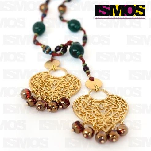 ISMOS Joyería: collar de cristales con metal dorado // ISMOS Jewelry: cristal ang golden metal necklace