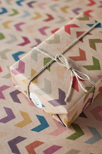 Gift wrapping idea - Follow the Arrow Wrapping Paper by ToodlesNoodles, $19.00