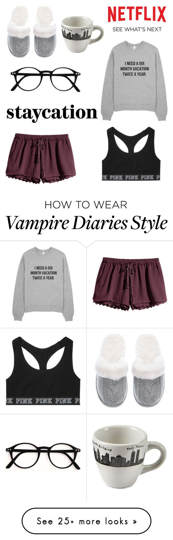 """""""binge watching vampire diaries"""" by ilyse-stevenson on Polyvore featuring H&M, Victoria's Secret, Fishs Eddy and Identity"""