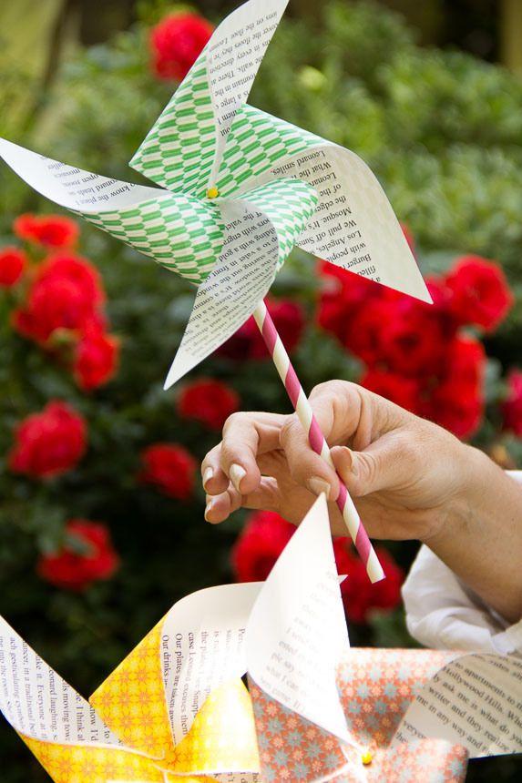 DIY Recycled Paper Pinwheels / Moonfrye