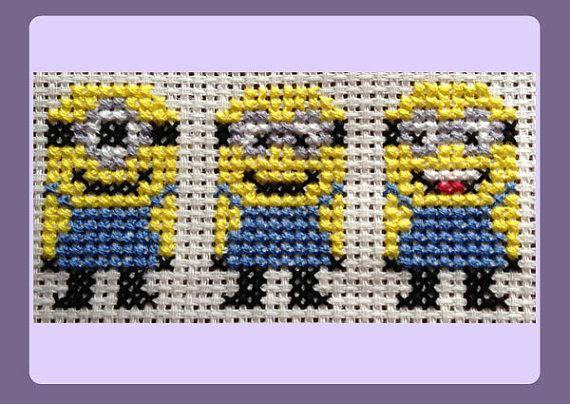 Yellow Minions Cross Stitch Pattern di StitchedWithLoveByUs