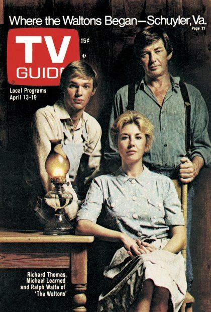 TV Guide April 13, 1974 - Richard Thomas, Michael Learned and Ralph Waite of The Waltons.