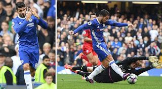 Ekspresi Costa seusai cetak gol dan Eden Hazard tengah memperdaya kiper Leicester/Dailymail.co.uk...