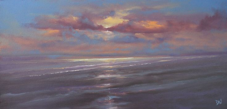 ARTFINDER: Holkham Sunset by Dan Wellington - A late evening scene depicting the warmth and beauty of the Norfolk coast line at Holkham. Giclee print from an original oil painting on high quality fine ar...