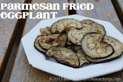 Parmesan Fried Eggplant -- An easy eggplant side dish even for people who hate eggplant :: via Kitchen Stewardship