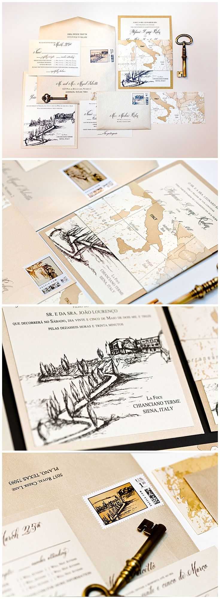 Italy wedding invitations with a sketch of a villa and cypress lane in Siena, Italy. These dual language wedding invitations were designed in English and in Portuguese. A vintage map of Italy was designed to wrap around the invitation suite.  Click to see more of this invitation or pin for later!