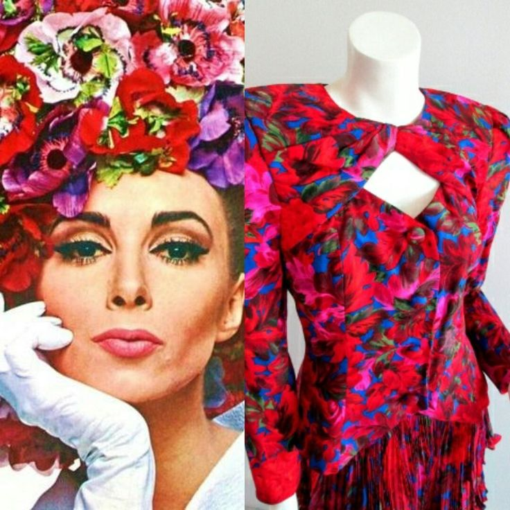Vintage Saks Fifth Avenue Raul Blanco Silk Suit Dress Skirt - Floral Secretary  #RaulBlancoforSaksFifthAvenue #Vintage