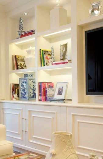 Idea :: Built-In Cabinets with Book & Display Shelves + Recess for Panel TV