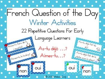 22 repetitive questions for early French language learners.  Two types of questions are highlighted:As-tu dj ?Aimes-tu?Each questions asks about a winter activity.  Find out who has already gone ice-fishing and who likes hockey.  Activities include skiing, snowboarding, skating, sliding, curling, playing hockey, ice fishing, snowmobiling, making a snowman and snowshoeing11 different recording sheets are also included for students to survey their classmates or copy the names from the board.