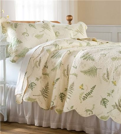 Shower Curtain In Tranquil Fern Pattern For The Upstairs Bathroom King Quilt Sets Quilt Sets