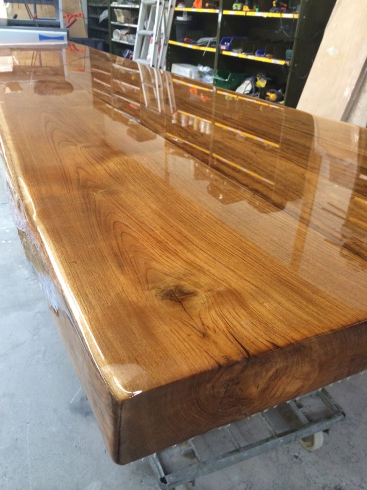 Oak table top with transparent epoxy