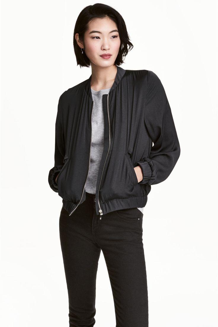 Satin bomber jacket - Dark grey - Ladies | H&M GB
