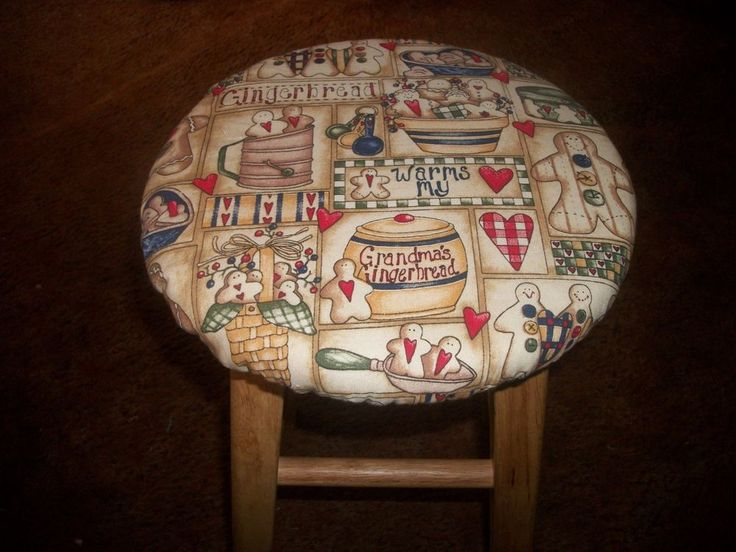 """Gingerbread Cookies Jar Apron 12"""" to 13"""" fabric wooden Kitchen Bar Stool Cover  #Handmade #Country"""
