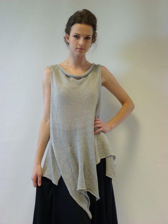 Silver asymmetric linen long top M/L size. Very by ZUZABARTSHOP
