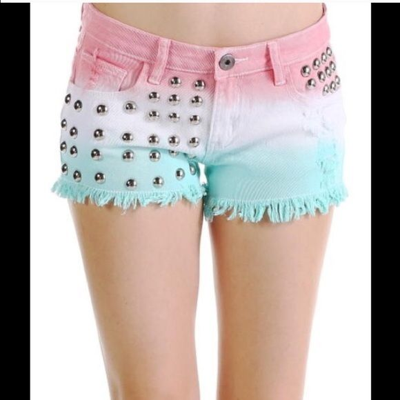Tri-Dyed Studded Shorts Brand new Tri-colored studded denim shorts with button and zipper closure waist. 98% Cotton, 2% Spandex Shorts