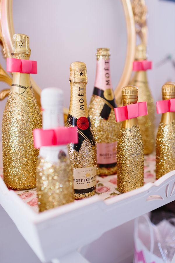 Like how they didn't glitter over the champagne bottle labels Bridal Shower by Ducky Jessica Photography 3