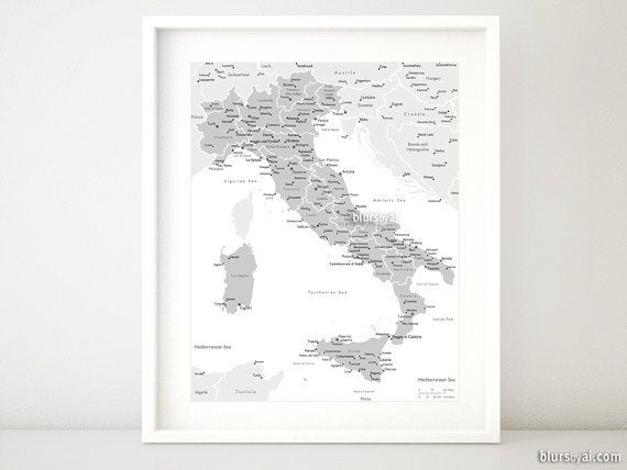 """8x10"""" & 16x20"""" Printable map of Italy, Italy map with cities, Italia map, grayscale Italy map, baby boy nursery map, back white - map054 001"""