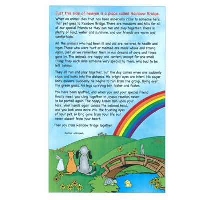 Challenger image throughout rainbow bridge poem printable version