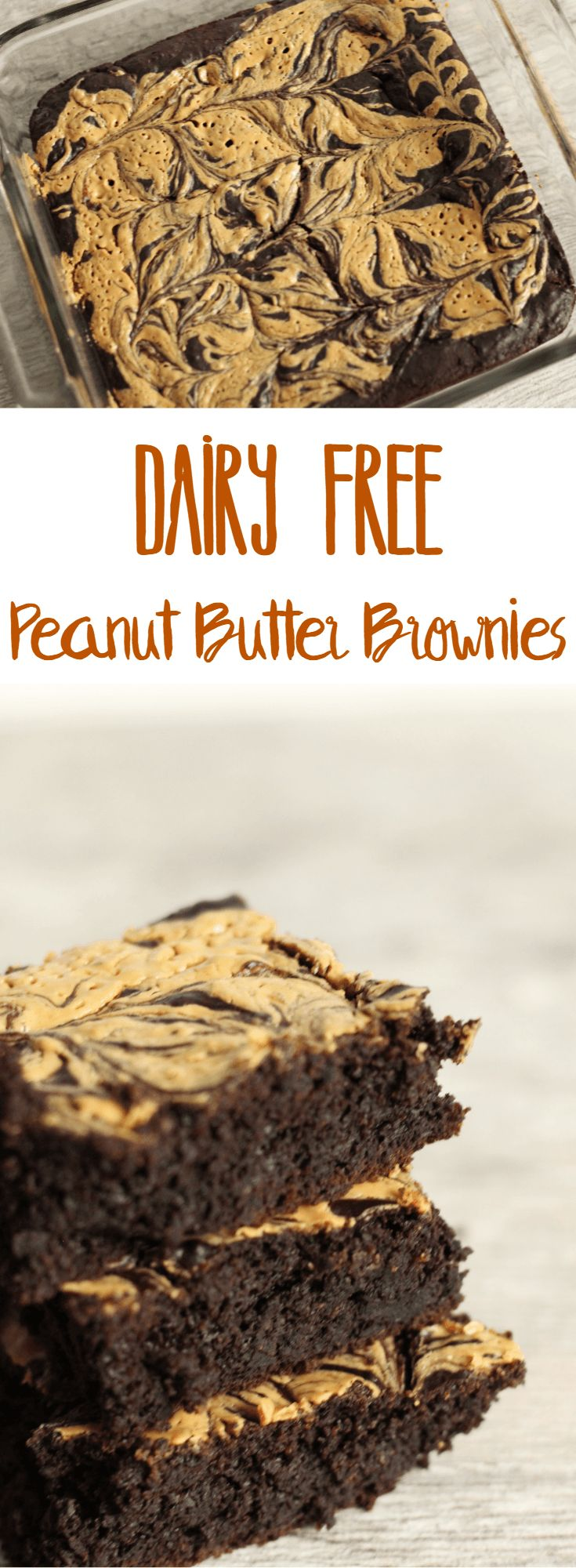 Chocolate and peanut butter are the perfect match in these dairy free peanut butter brownies that are also gluten free! All you need is the list of ingredients, a baking pan, and a food processor to whip these brownies up.