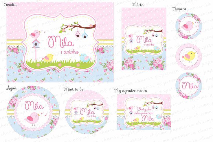 Kit Digital Jardim Encantado - Passarinhos - Floral Azul, amarelo e rosa - Charme Papeteria
