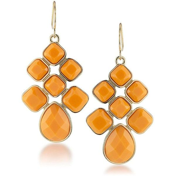 1st And Gorgeous Light Orange Cabachon Chandelier Earrings (€17) ❤ liked on Polyvore featuring jewelry, earrings, gold, orange earrings, gold earrings, chandelier jewelry, earring jewelry and orange chandelier earrings