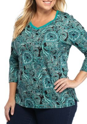 Kim Rogers Women's Plus Size Three-Quarter Sleeve V-Neck Paisley Print Top - Turq Combo - 2X