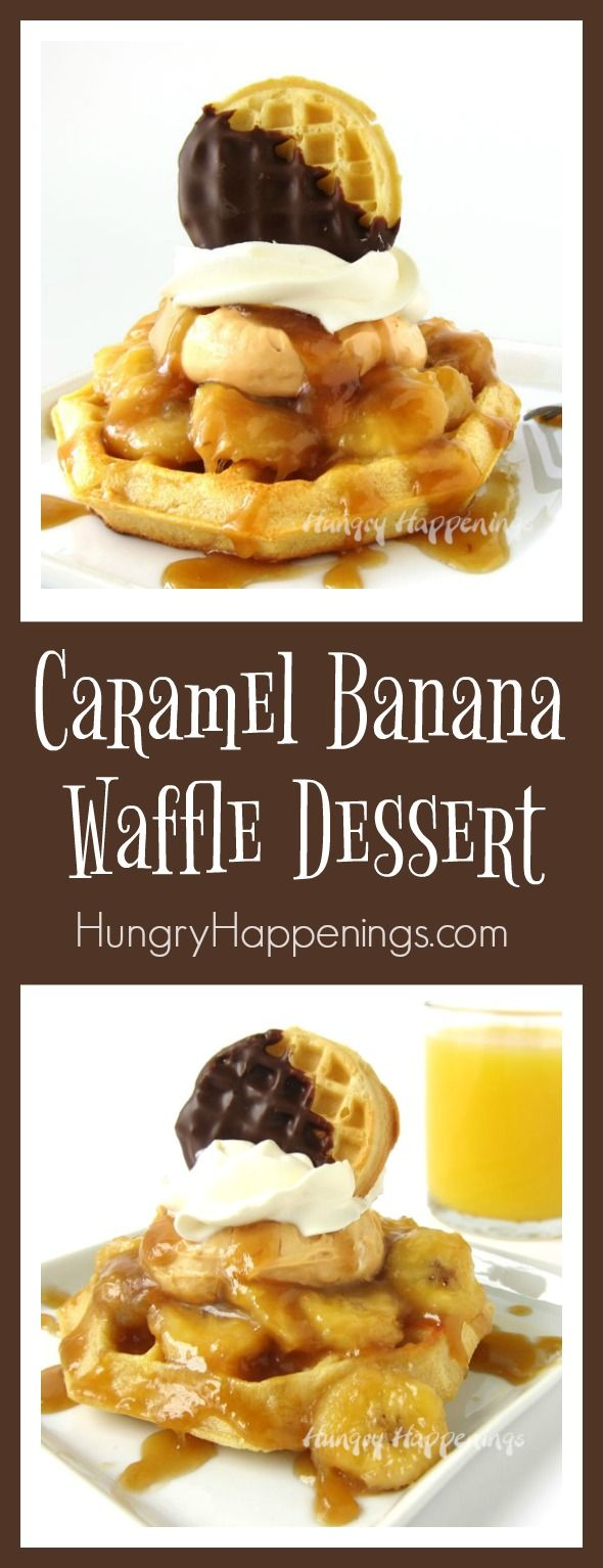 Top a Kellogg's Eggo Thick & Fluffy Original Waffle with Caramelized Bananas, Caramel Mousse, Whipped Topping, and a Chocolate Dipped Eggo Minis Waffle and you have the most decadent Caramel Banana Waffle Dessert.