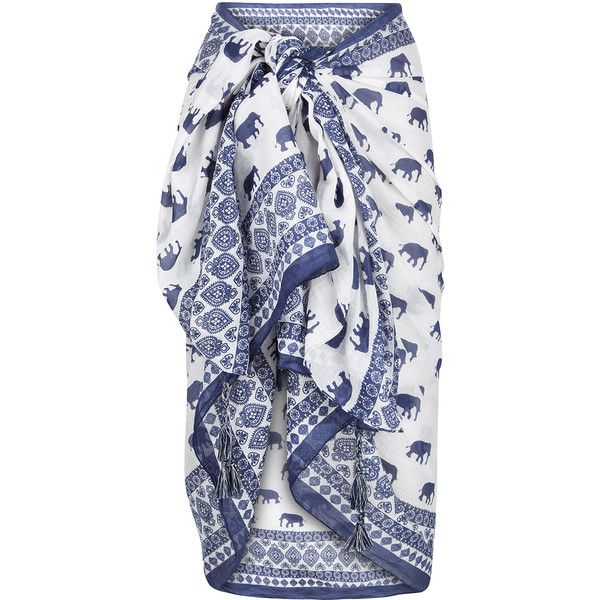 Featuring an all-over elephant print, paisley borders and tassel details, this sarong is a stylish way to cover up on the beach. Wrap it around your waist, or …
