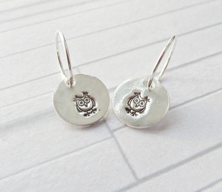 Silver owl earrings, Fine silver owl charms, Owl stamped earrings, Silver owl hoops, Silver owl charm earrings, Owl earrings, Made in the UK