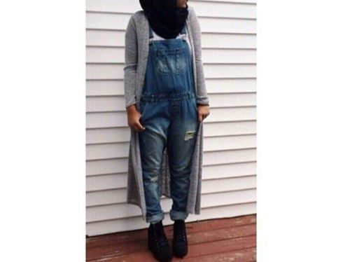 Minimal Chic Hijab Jeans Salopette We Heart It Fashion Hijab Life Outfit Style Ootd