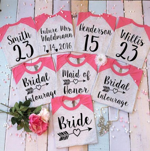4 Bridesmaid Shirts. 4 Bachelorette Baseball Tees. 4 Wedding Tops. 4 Bridal Shirts. 4 Bride T-Shirts. Bride's Entourage Shirts.